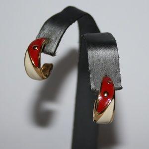 Vintage gold red and cream Monet hoop earrings